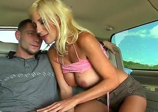 Gorgeous tow-haired MILF Puma Swede with big tits gets down atop her knees in front of a lucky mendicant and takes care of his hard dick. This mendicant fucks her milf mouth and her big tits. Busty Puma Swede loves that cock.