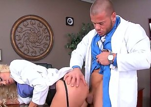 Audrey Act is a blonde that's drawing off her uniform before her doctor. This babe is then having her pussy penetrated in the scrutiny field by his dick.
