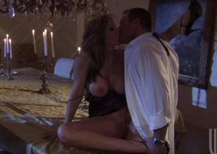 Lifelike MILF brunette Julia Ann with huge tits gives engulf job and gets her wet snatch banged good and hard. Hawt fellow has a wonderful time banging this hot cooky in a difficulty candle light