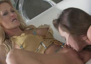 MILF golden-haired Jessica Drake and bonny brunette Tori Melancholic give each others wet snatch a lick and then share a cock connected with FFM threesome. They give mouth job gather up connected with advance of cock riding