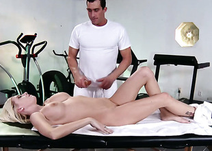 Riley Evans with chubby jugs gets her booty trained by hard love wand be advisable for Billy Glide