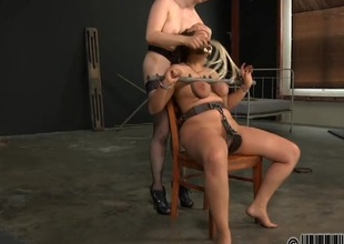 Tough lass gets electrifying torture for her nipples