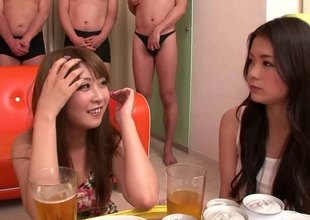 Horny Japanese ladies line up men and use them for sexual pleasure
