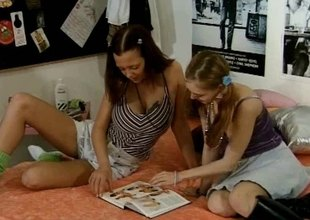 Prime and pigtailed teens get sinful having their first time lesbians scene