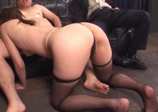 Mature, alluring Asian housewife gets drilled and takes cum on her feature