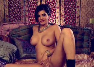 Appetizing hyacinthine brown babe Sunny Leone gets discharged lingerie and goes solo