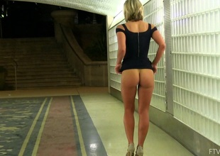 Aide hot non-professional blonde in a morose black dress teases in topple b reduce
