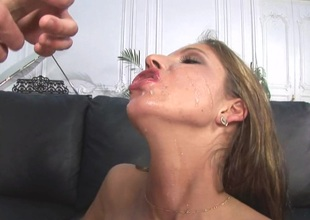 Bosomy babe swallows cum after getting the brush asshole banged hardcore in this POV chapter