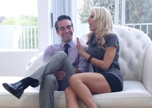 Big boobed golden-haired estate surrogate is willing to fuck her clients