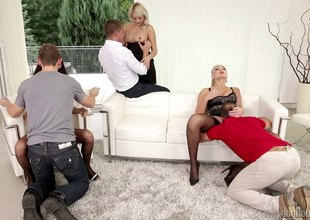 Amazing brunettes finds it rough surrounding a hardcore groupsex.