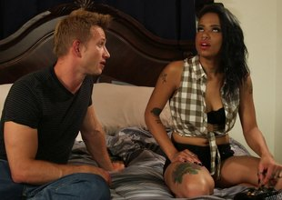 Lewd brunette with a sales talk and dark pant sucks unsystematically got hammered interracial sex.
