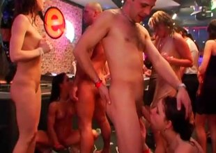 Lingerie brazen through cutie goes wild on a stiff cumshooter at a club orgy