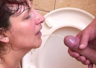 Perverted mature sex on a public toilet