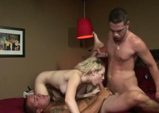 Alluring blonde sweetie Cindi Loo fucks 2 bisexual dudes