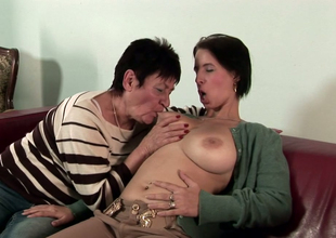 Playful brunette honey Anastasia enjoys bawdy cleft shellacking with a lesbian granny