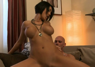 Dark brown bombshell Dylan Ryder gets drilled well hard by Johnny Nitro