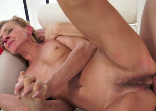 Horny aged Katherin gets the brush ruined snatch banged well