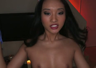 Torrid Oriental nurse swallows chunky albatross with pleasure in arousing POV video