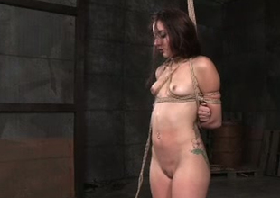 Naughty brunette playmate with small titties Mandy Muse is finger fucked in BDSM porn movie scene