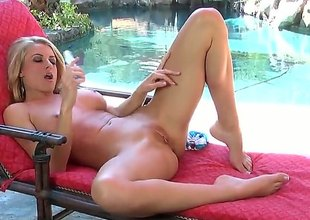 Randy Moore groans as A this babe fucks herself with vibrator