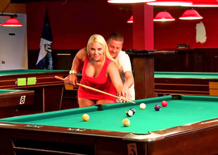 Curvy fair-haired bitch fucked on the pool table ergo well