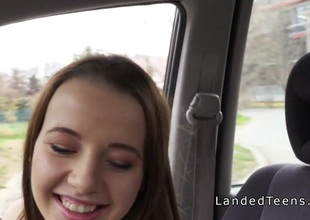 Cute legal age teenager hitchhiker sucks cock around buggy
