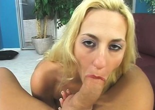 Attracting blonde with fat hooters sucks and fucks a lengthy perforate POV style