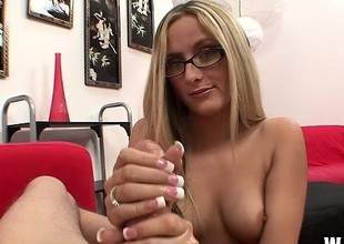 Nerdy newbie Page Adams is perfection when her hands reach the top make believe not susceptible his wanker