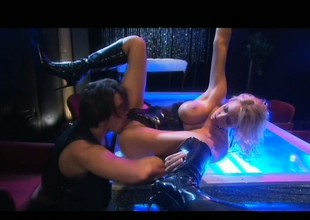 Curvaceous blond stripper Trina Michaels sucks and fucks a lengthy weenie on epoch