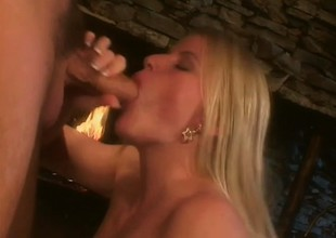 Self-confident fair-haired mismanage is surprising her lover with mouth and tongue