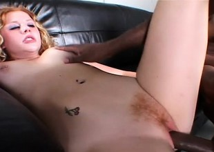 Untalented redheaded unpaid gets banged in her milky white pussy by creamy black chocolate
