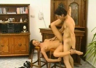Dark haired Milf vixen puts it on the line with her wet box with the addition of mouth