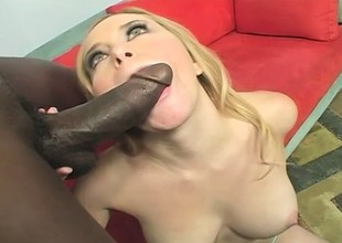 Well-endowed blonde takes every inch be expeditious for a huge unscrupulous Hawkshaw in her cunt and fully enjoys crimson