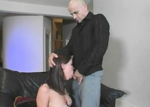 Dirty playgirl roughly fishnets gives an older alms-man everything she's got