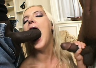 2 insatiable darksome fuckers shot a fun banging a slutty golden-haired babe