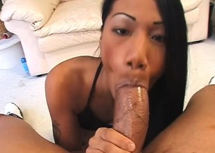 Adorable Asian girl graduates from marital-aids and makes it to big meat