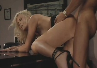Hannah Harper gets her tight holes banged by her horny boss' learn of