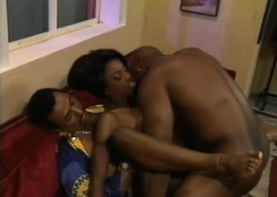 A desperately horny girl can't wait to please these two hung men