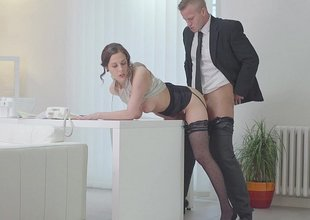 Essayist bent over the desk and fucked