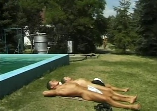 A whole gang of horny, young men fill at the pool be beneficial to whatever kinds of sex floats their floaties, in this 19 minute scene.  Three of 'em wander into the woods be beneficial to line up sex with anal and blowjobs.  The combinations of positions get as hawt as nature allo