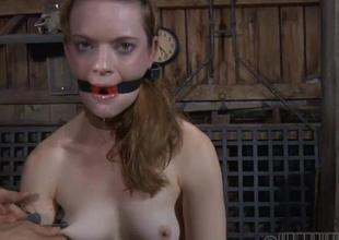 Agonizing slave is giving master a lusty oral