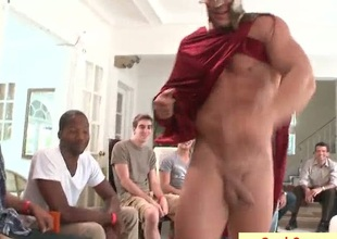 Horny homosexual guys having oral sex party
