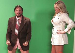Olivia Austin drilled round her attractive and sexy pussy pie apart from the weather man