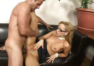 Gorgeous blond in glasses takes telling creampie