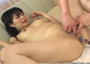 Anal beads up will not hear of lubed Japanese asshole