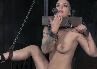 Hairless head babe in arms in kinky servitude