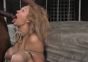 Blonde affianced added to face fucked by a black load of shit
