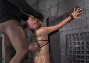 Bound breasts bill blue as A she receives face drilled