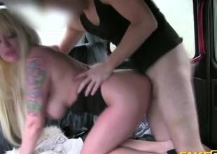 Stylish blonde prostitute pounded on adjacent to a car