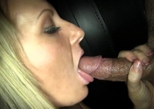 Gloryhole cocksucker swallows cum distance from strangers
